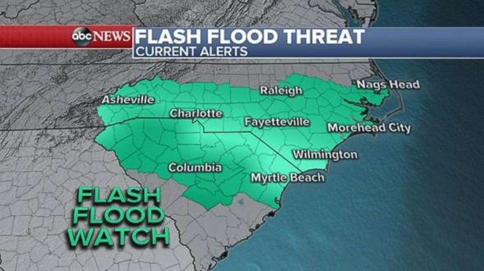 PHOTO: Flash flood watches have been expanded inland as of Thursday afternoon in advance of Hurricane Florence.