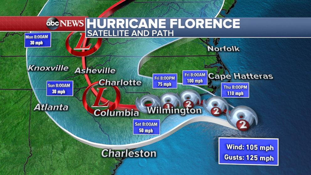 PHOTO: Map shows the projected path of Hurricane Florence as of 11am, Sept. 13, 2018.