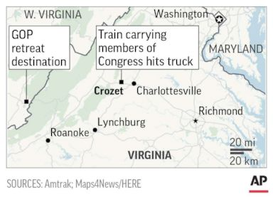 PHOTO: Map showing location where an Amtrak train carrying members of Congress collided with a truck, Jan. 31, 2018.