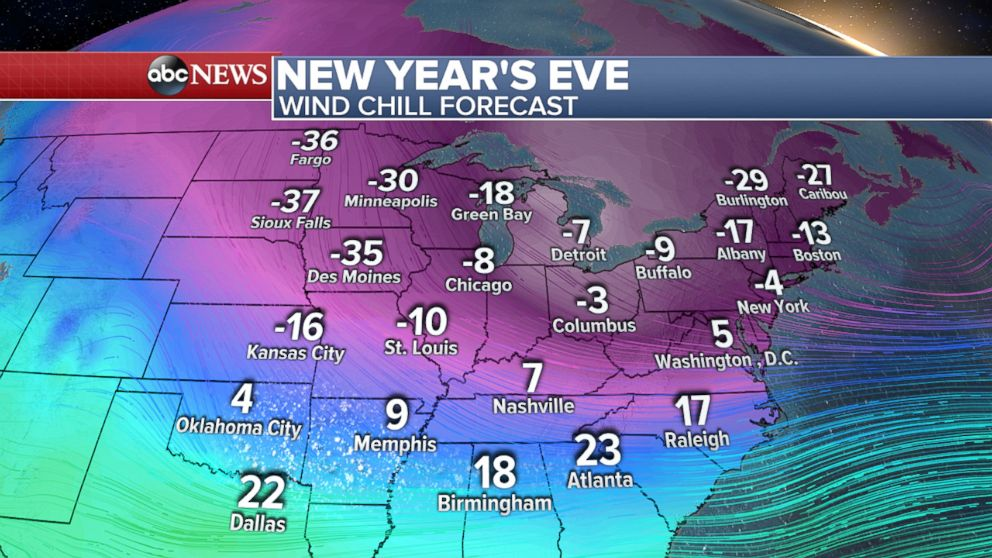 PHOTO: Weather map showing the wind chill forecast for New Years Eve.