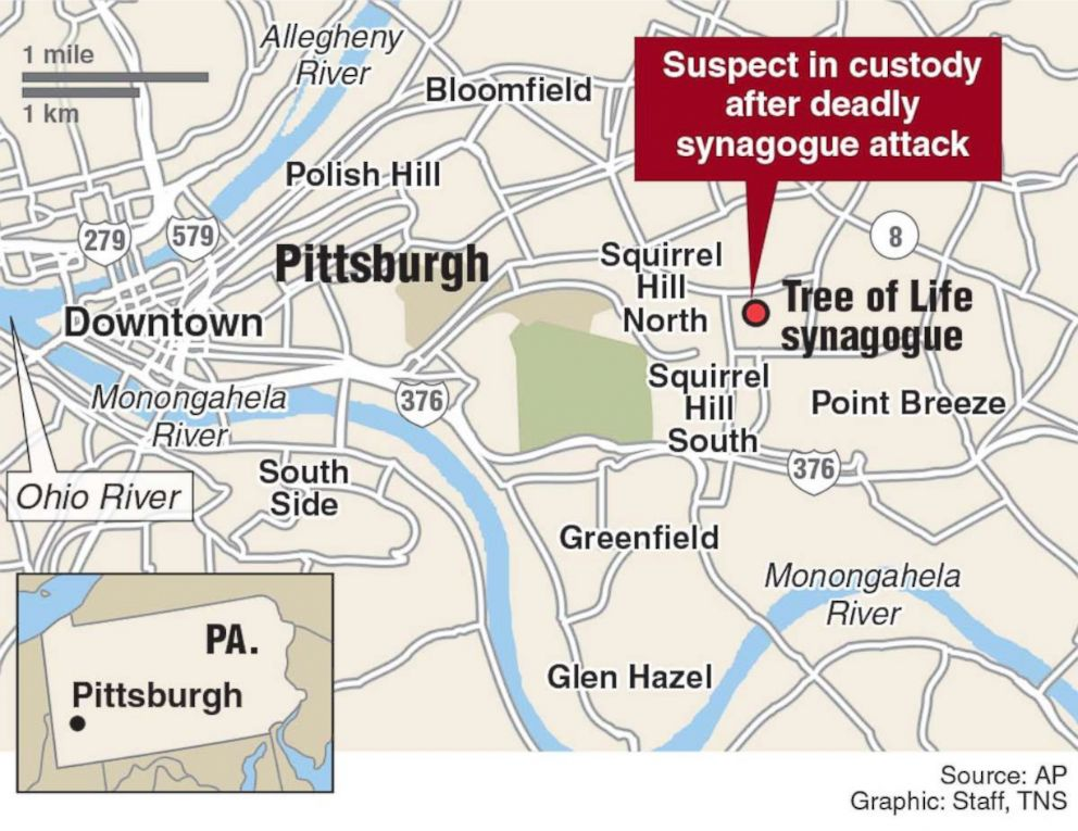 PHOTO: Locator map of deadly shooting in Pittsburgh synagogue.