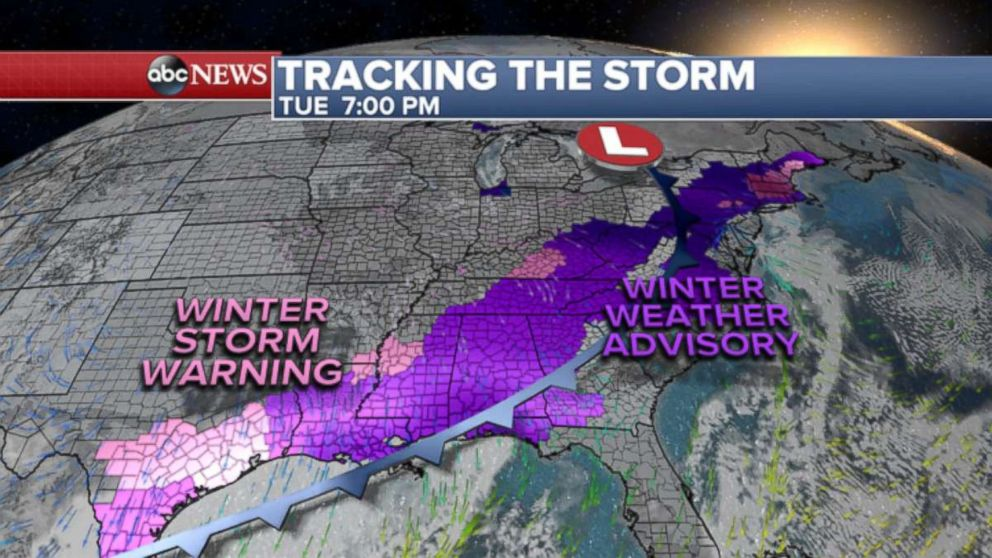 PHOTO: 90 Million Americans under winter storm warnings and advisories from Texas to Maine.