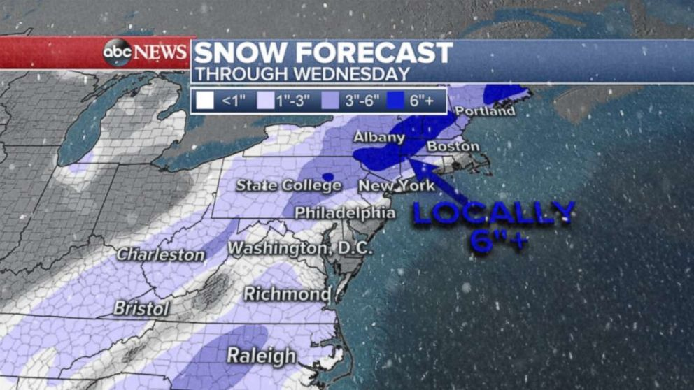 PHOTO: Snow forecast through Wednesday evening.