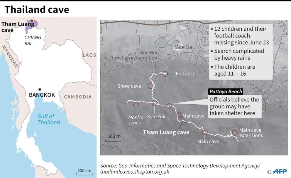 PHOTO: Map shows location and possible path taken by soccer team that went missing in a cave in Thailand.