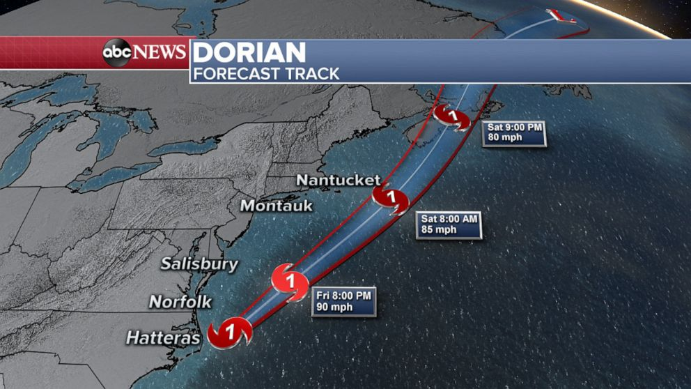 PHOTO: Map shows the forecast track for Hurricane Dorian, Sept. 6, 2019.
