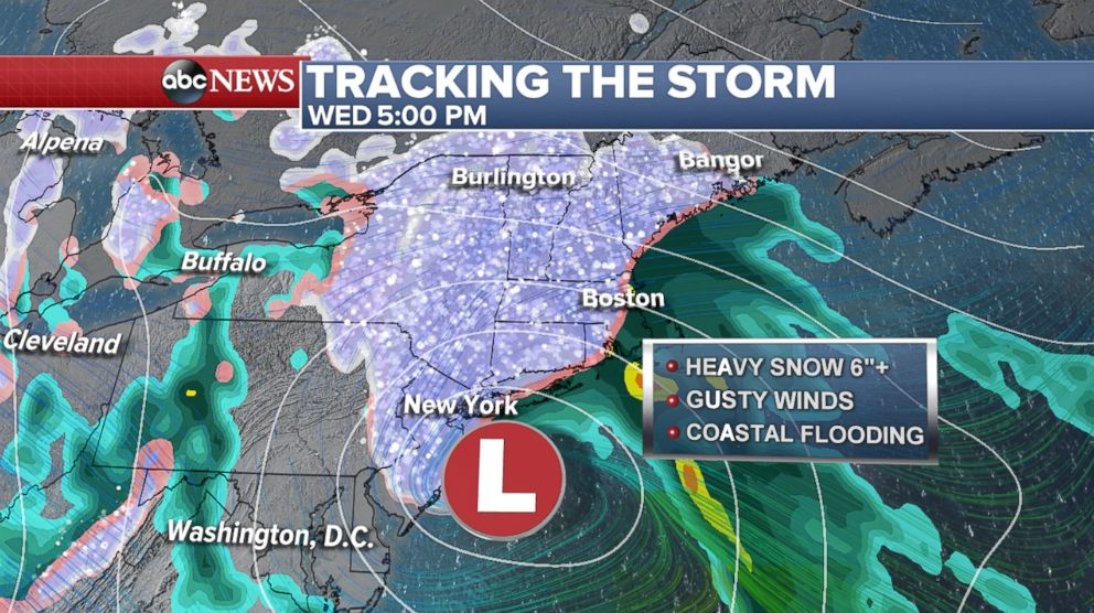 PHOTO: Wednesday the storm from the Midwest and the coastal low will come together to form a noreaster that will impact the Northeast region from Philadelphia to NYC to Boston.