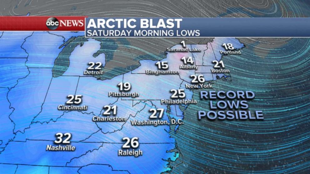 PHOTO: Weather map showing temperatures expected in the northeast.