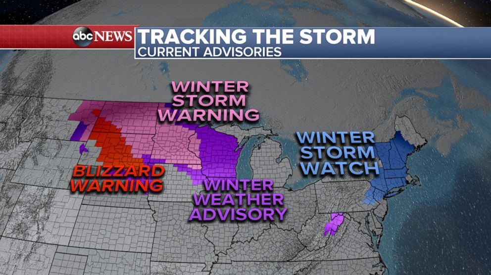 PHOTO: Twenty states from Montana to Maine are under winter storm alerts and 50 million Americans in the path of heavy snow and strong winds Monday through Wednesday.