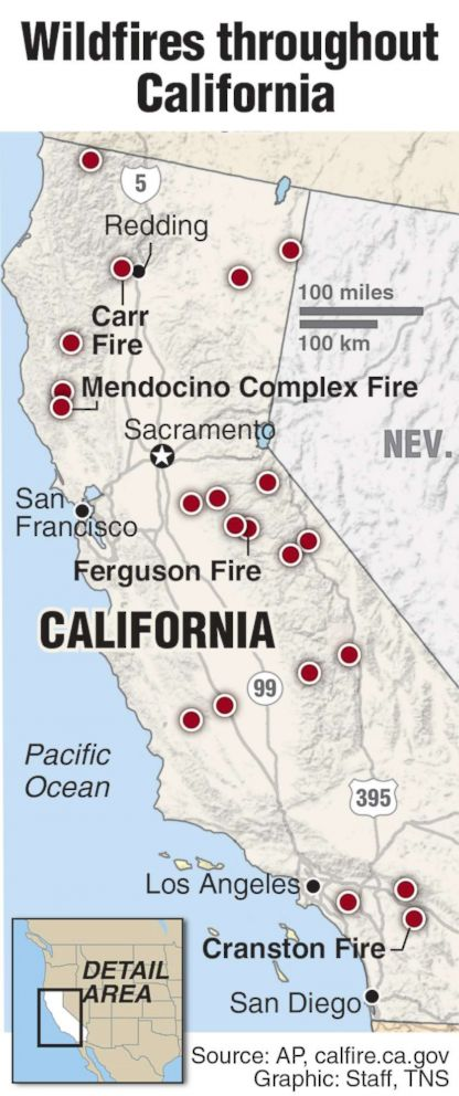 PHOTO: A map compiled with data from the AP and state government and released on Aug. 7, 2018, shows the wildfires currently burning in California.