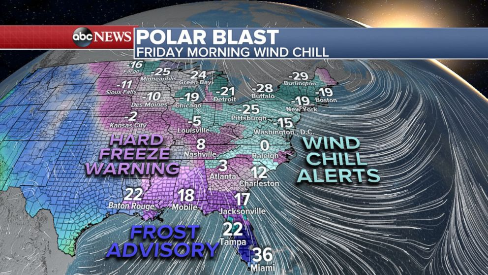 PHOTO: Map showing Friday wind chill forecast for the east coast as of Jan. 4, 2018.