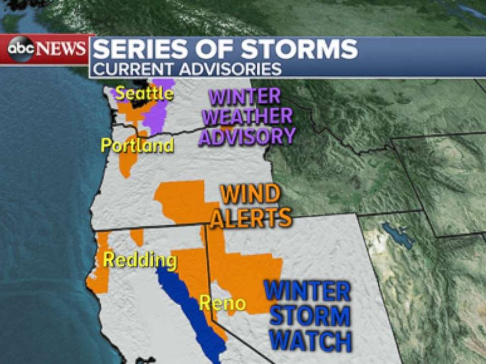 PHOTO: A series of storms is expected to bring rain, strong winds and heavy mountain snow to the Northwest this week.