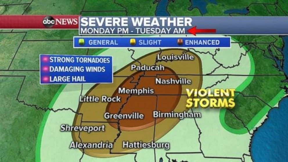 PHOTO: There is a chance of tornadoes in Tennessee and surrounding states.