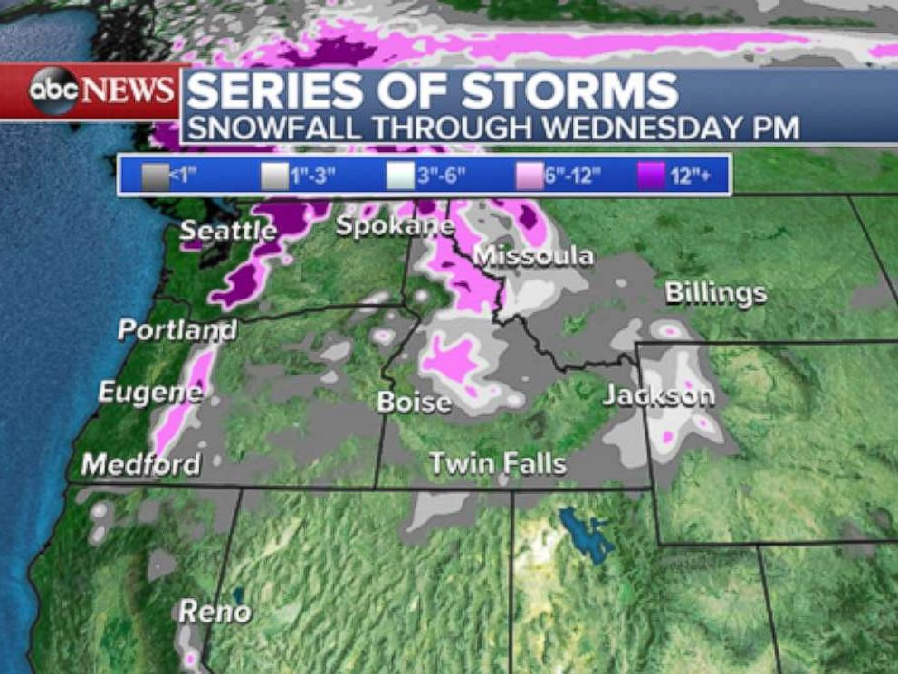 PHOTO: Another storm will move into the Northwest on late Tuesday and Wednesday and has the chance to bring more widespread snow.