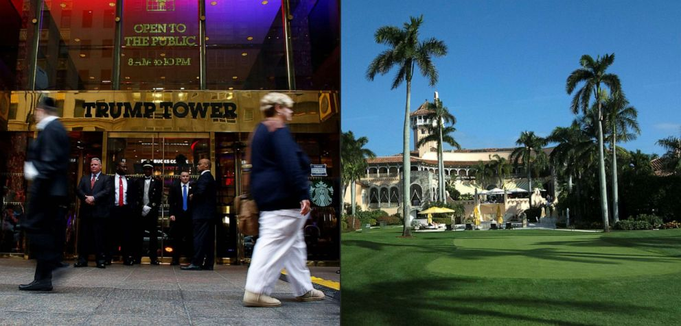PHOTO: This combination of pictures shows a file photo taken on April 26, 2016 of Trump Tower in New York and a file photo taken on Jan. 1, 2017, of the Mar-a-Lago Club in Palm Beach, Fla.