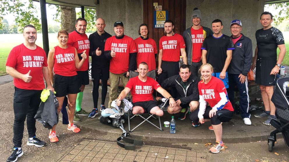 Rob Jones and his team of supporters at the beginning of the Month of Marathons journey.