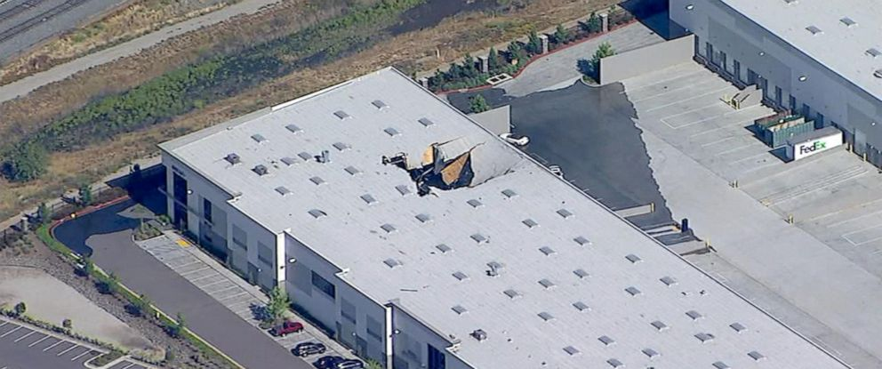 PHOTO: An F-16 fighter jet crashed into a building near the runway at March Reserve Air Force Base, May 16, 2019.