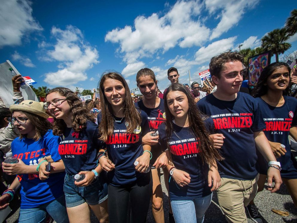 PHOTO: Marjory Stoneman Douglas High School students march from Pine Trails Park to Marjory Stoneman Douglas during the March for Our Lives protest in Parkland, Fla., March 24, 2018.
