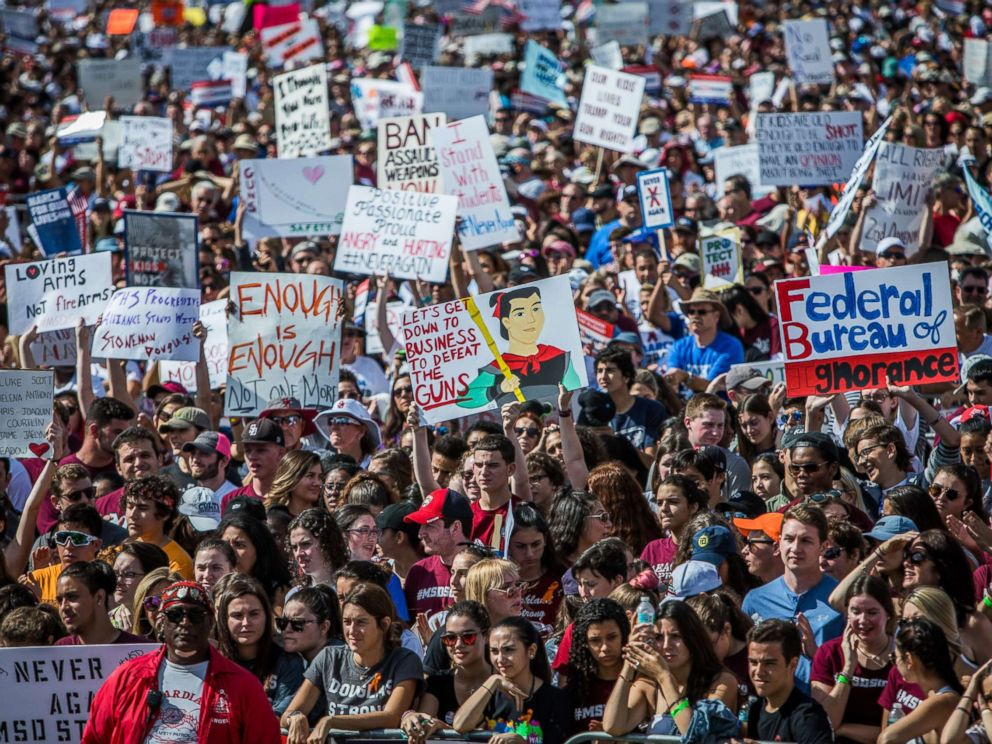 PHOTO: Protesters participate in March for Our Lives rally in Parkland, Fla., March 24, 2018.