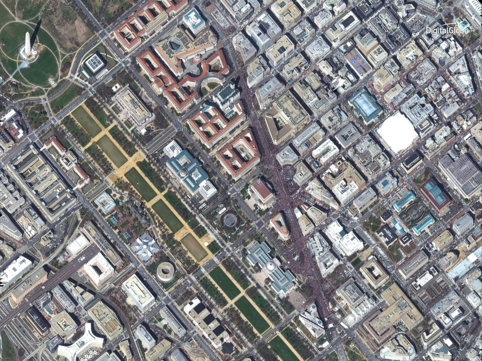 PHOTO: DigitalGlobe's WorldView-2 satellite captured the March for Our Lives rally in Washington, D.C. at 11:59 a.m, March 24, 2018.