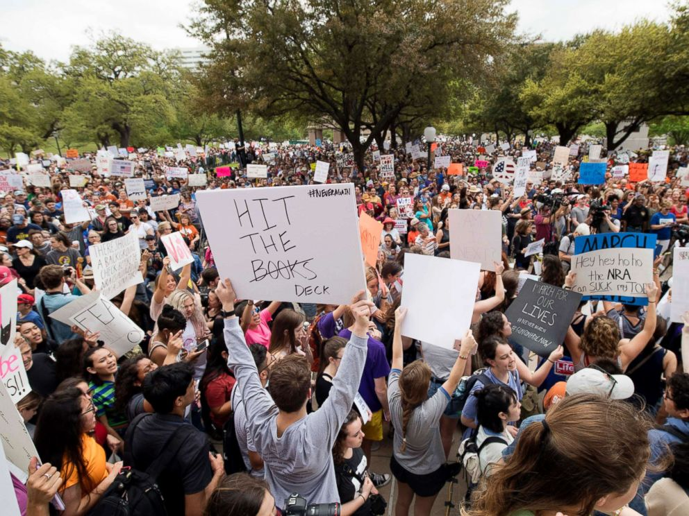 PHOTO: Thousands of marchers converge at the state Capitol in Austin, Texas, during March for Our Lives rally, March 24, 2018.