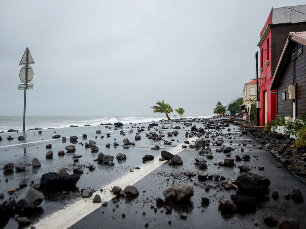 PHOTO:Rocks swept by strong waves onto a road in Le Carbet, on the French Caribbean island of Martinique, after it was hit by Hurricane Maria, on September 19, 2017.