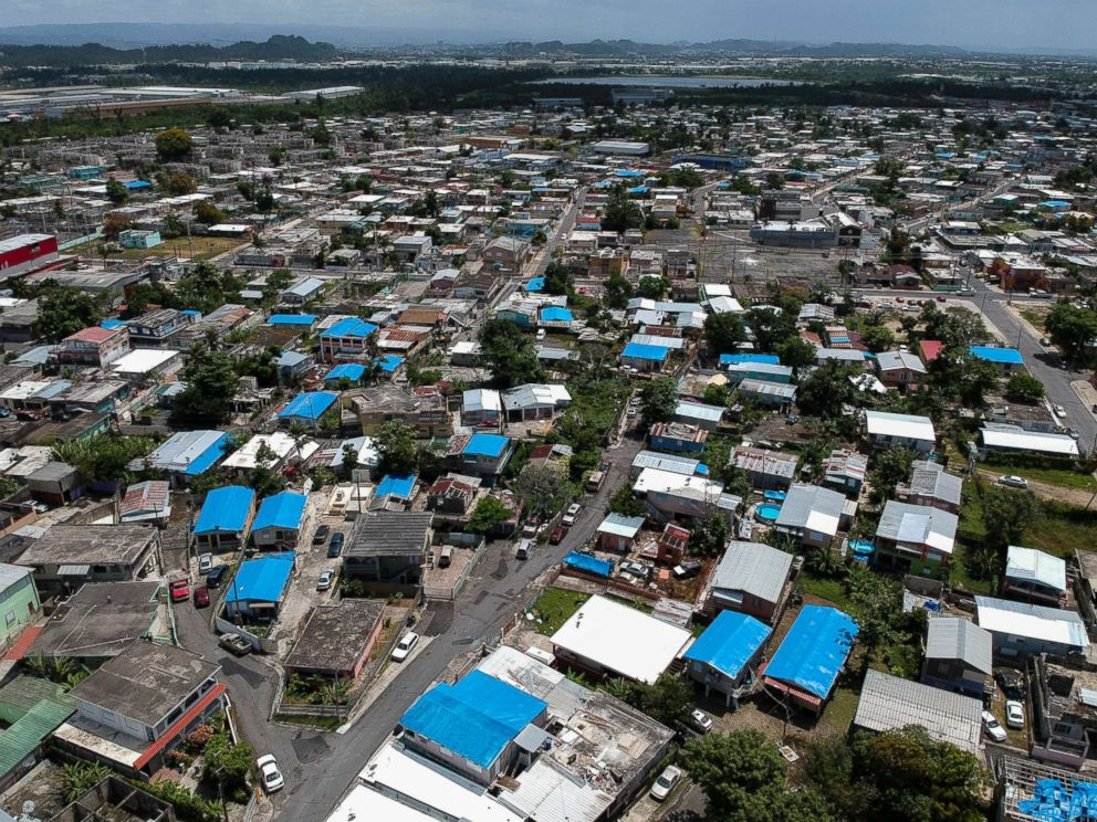 PHOTO: This June 18, 2018, photo shows an aerial view of the Amelia neighborhood in the municipality of Catano, east of San Juan, Puerto Rico.