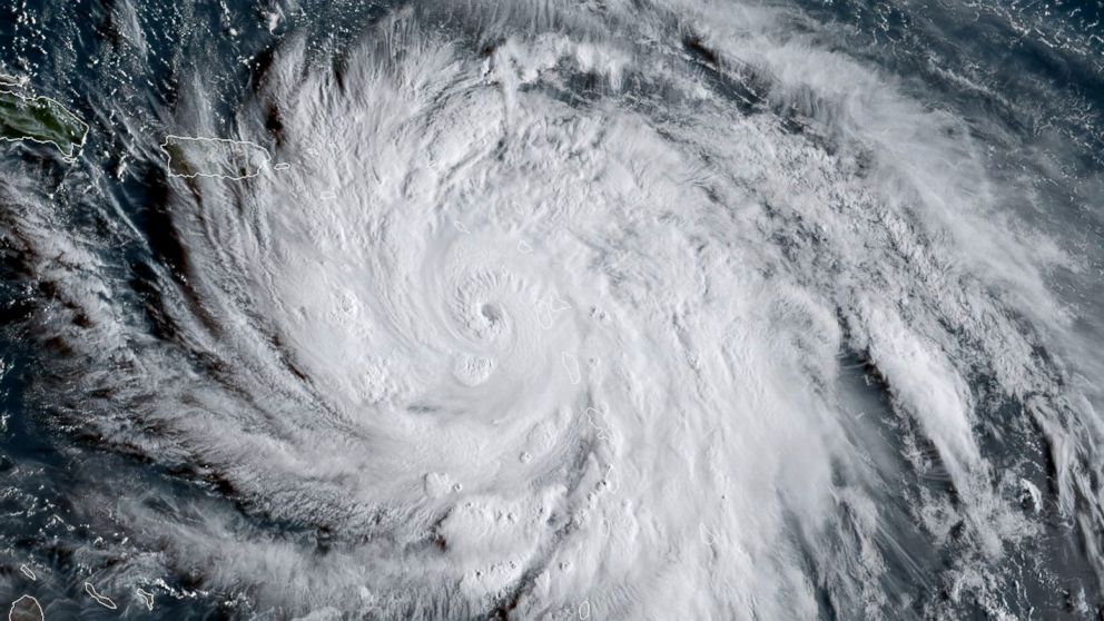 This satellite image obtained from the National Oceanic and Atmospheric Administration shows Hurricane Maria, Sept. 19, 2017.