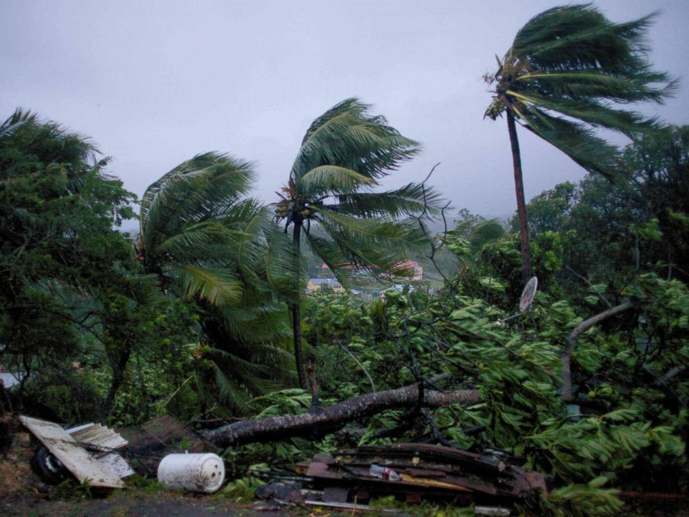 PHOTO: Powerful winds and rains from hurricane Maria as it batters the city of Petit-Bourg on the French Caribbean island of Guadeloupe, Sept. 19, 2017.