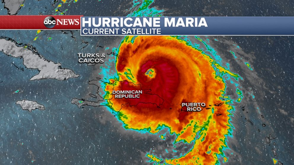 PHOTO: Hurricane Maria was located about 85 miles east-northeast of Puerto Plata, Dominican Republic, as of 2 p.m. ET, Sept. 21, 2017.