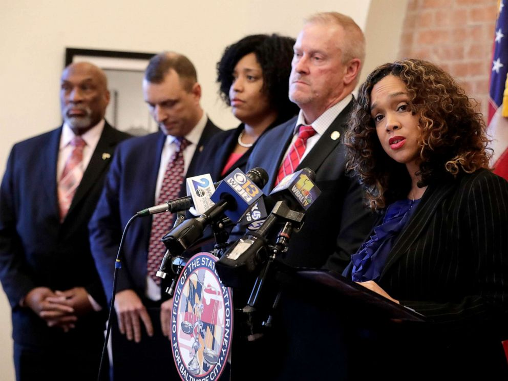PHOTO: Maryland State Attorney Marilyn Mosby, right, speaks during a news conference announcing the indictment of correctional officers, Dec. 3, 2019, in Baltimore.
