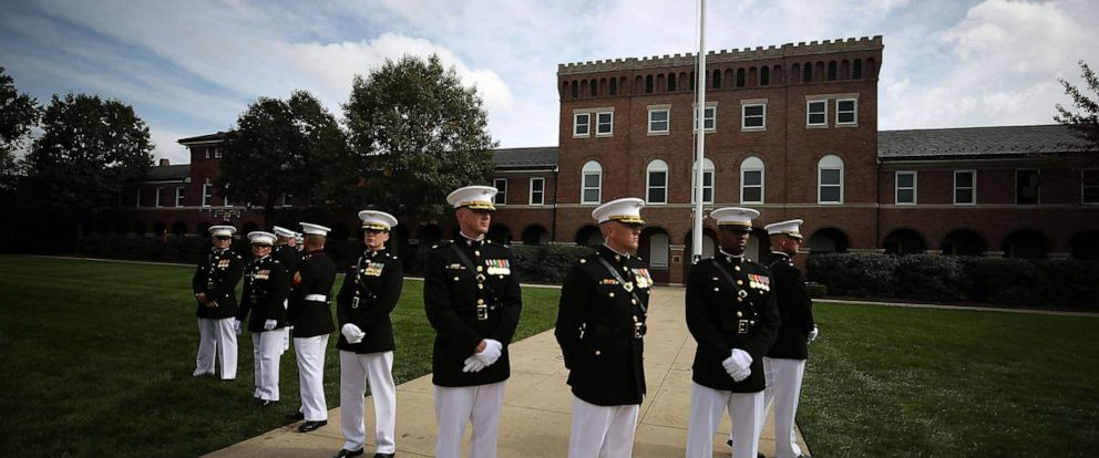 PHOTO: U.S. Marines participate in a ceremony to commemorate the anniversary of the 1983 bombing of the Marine barracks in Beirut, Lebanon, at the Marine barracks on October 23, 2017 in Washington, DC.