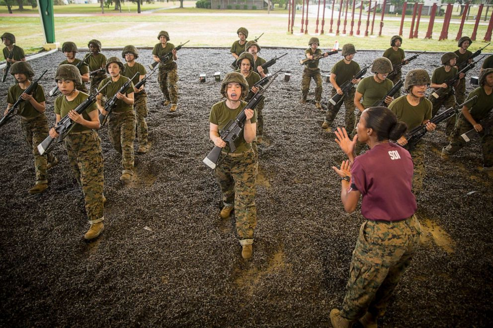 PHOTO: Recruits learn to block attacks from an aggressor during a martial arts training session April 23, 2018, on Parris Island, S.C.