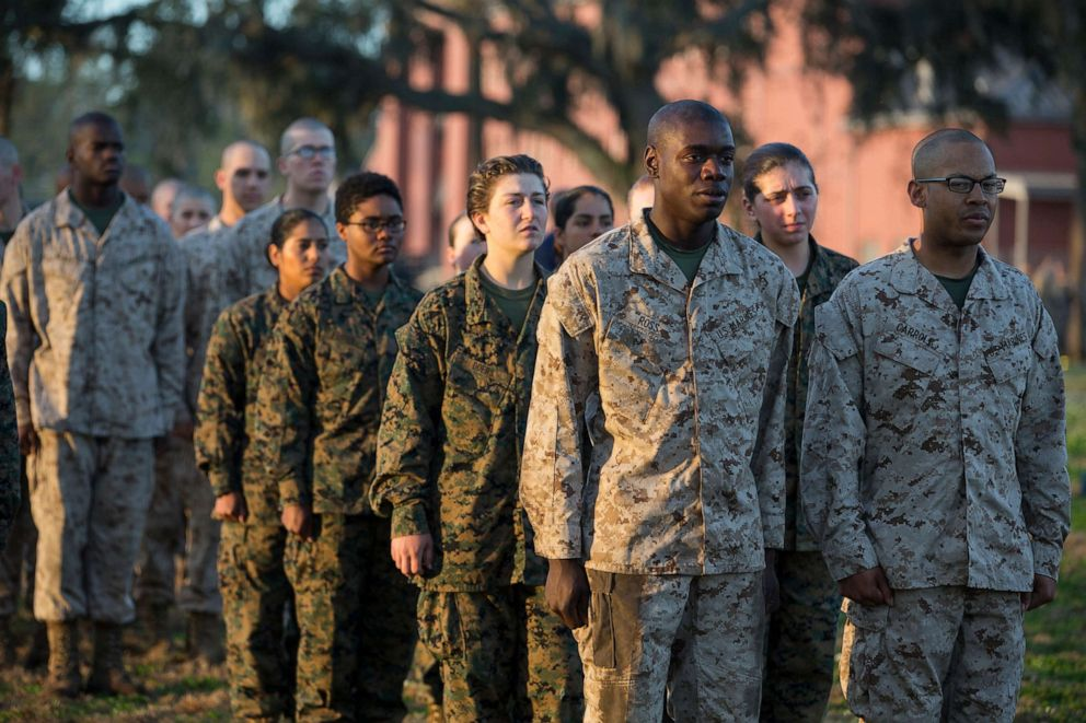 PHOTO: Male and female recruits wait for instructions while training at Marine Corps Recruit Depot Parris Island, S.C., Feb. 15, 2018.
