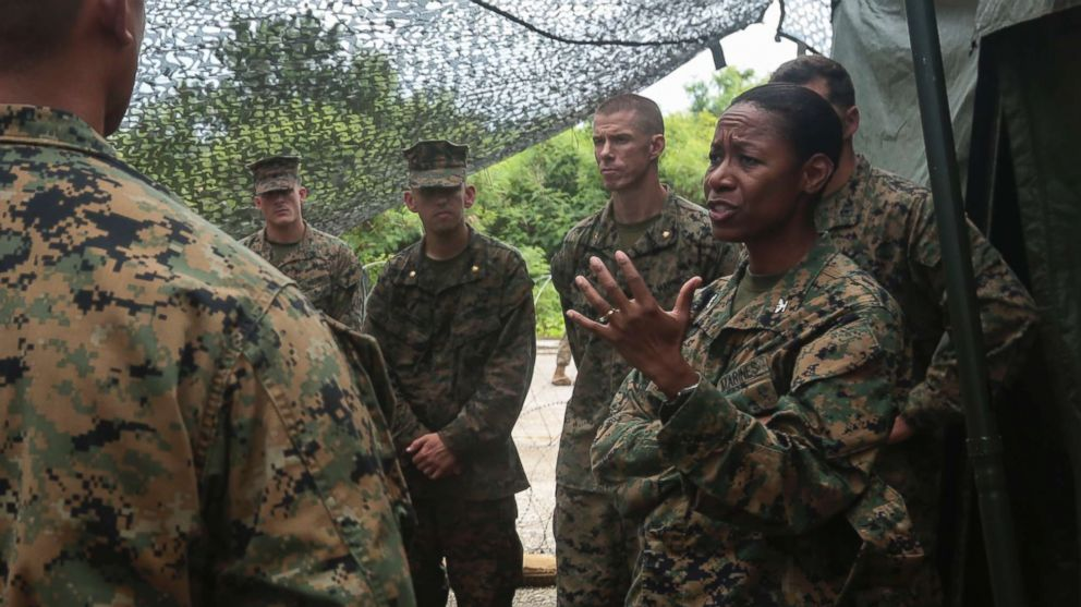 U.S. Marines listen to Colonel Lorna Mahlock on a visit to the Northern Mariana Islands, Sept. 14, 2016.