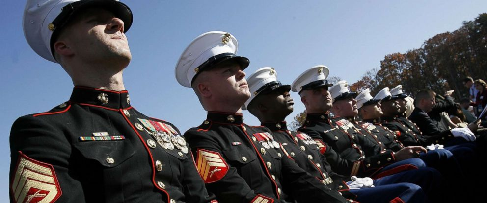 PHOTO: US Marines wait for the beginning of the dedication ceremony of the National Museum of the Marine Corps, Nov. 10, 2006, in Quantico, Virginia.
