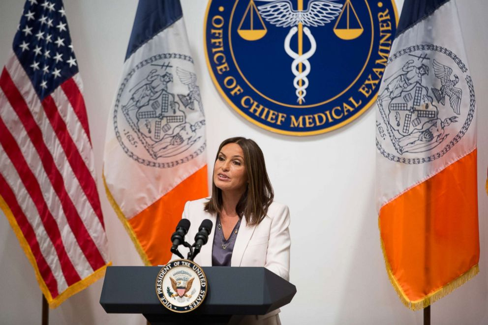 PHOTO: Mariska Hargitay speaks during a press conference at the Office of the Chief Medical Examiner Thursday, Sept. 10, 2015, in New York.