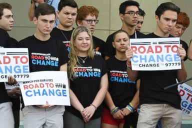 PHOTO: Marjory Stoneman Douglas students hold a press conference on June 4, 2018 at Pine Trails Park in Parkland, Fla.