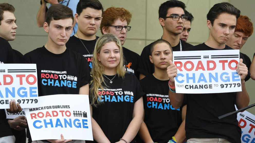 Marjory Stoneman Douglas students hold a press conference on June 4, 2018 at Pine Trails Park in Parkland, Fla.