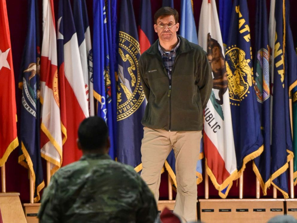 PHOTO: Secretary of the Army Dr. Mark T. Esper listens to a question at a town hall forum during his visit to U.S. Army Garrison Bavaria, the Armys largest overseas garrison, at Tower Barracks, Grafenwoehr, Germany, Jan. 30, 2018.