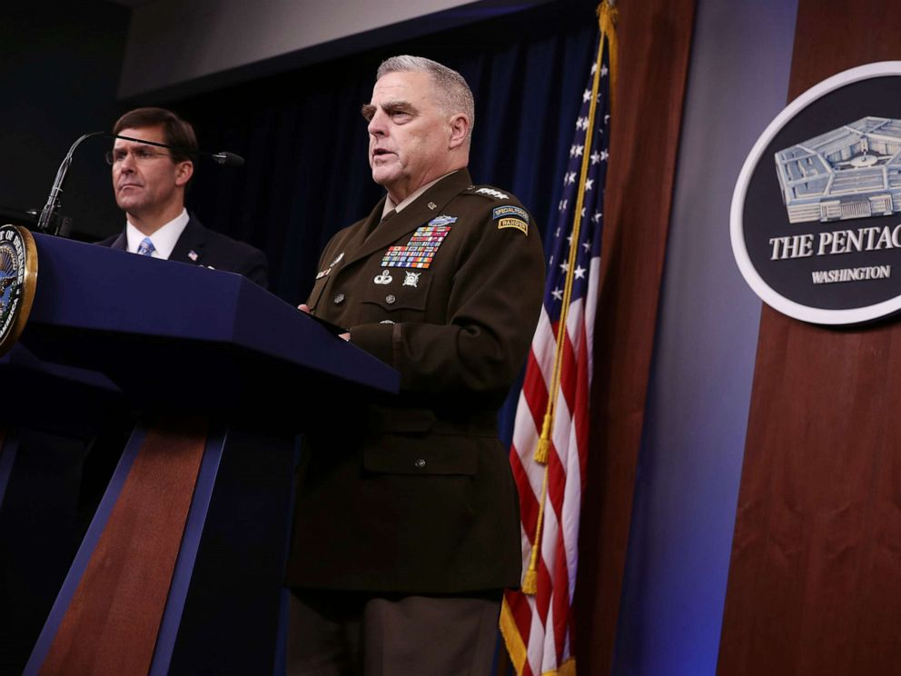 PHOTO: Defense Secretary Mark Esper (L) and Chairman of the Joint Chiefs of Staff Gen. Mark Milley hold a news conference at the Pentagon on Oct. 28, 2019, the day after it was announced that Abu Bakr al-Baghdadi was killed in a U.S. raid in Syria.