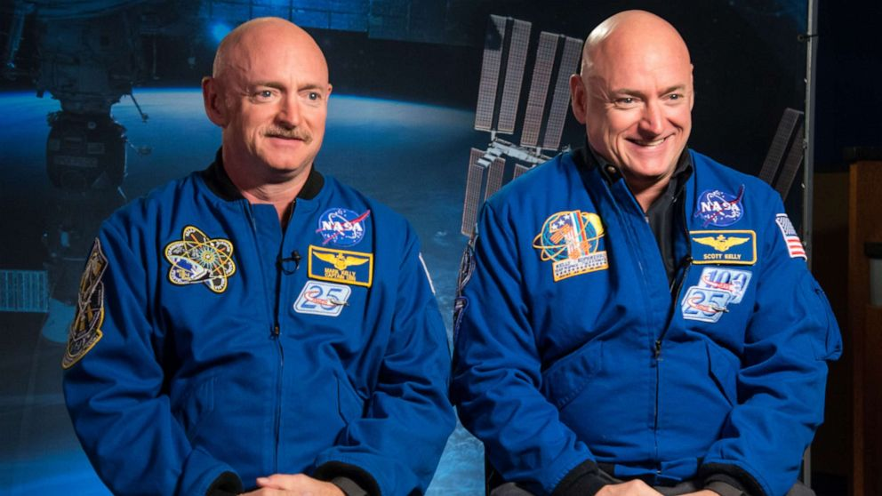 Former Astronaut Mark Kelly and his brother, Astronaut Scott Kelly, speak to news media outlets about Scott Kelly's one-year mission aboard the International Space Station, Jan. 19, 2015.