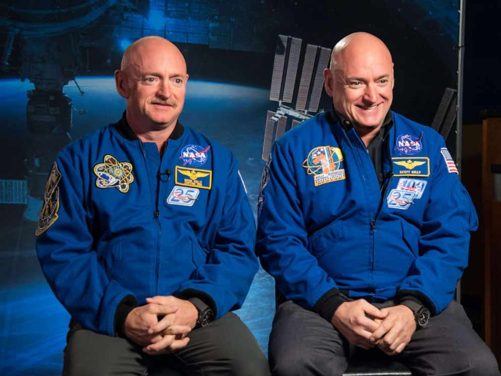 PHOTO: Former Astronaut Mark Kelly and his brother, Astronaut Scott Kelly, speak to news media outlets about Scott Kellys one-year mission aboard the International Space Station, Jan. 19, 2015.