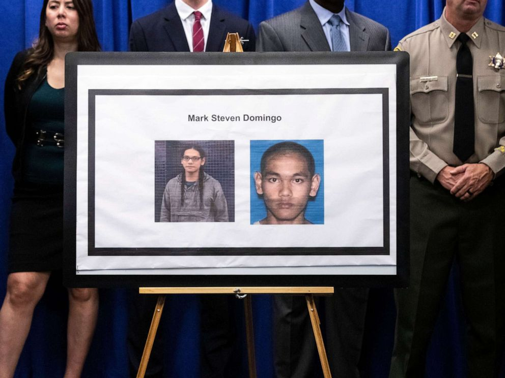 PHOTO: The portrait of alleged terrorist Mark Steven Domingo is displayed during a press conference uncovering details of his arrest on charges of preparing terrorist attacks in the Federal Building in Los Angeles, April 29, 2019.