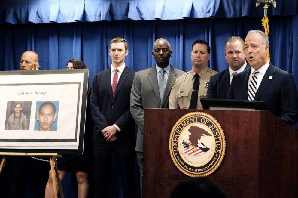 PHOTO: U.S. Attorney Nick Hanna, right, is joined by other law enforcement authorities during a news conference about the arrest of Mark Dombingo, in Los Angeles on Monday, April 29, 2019.