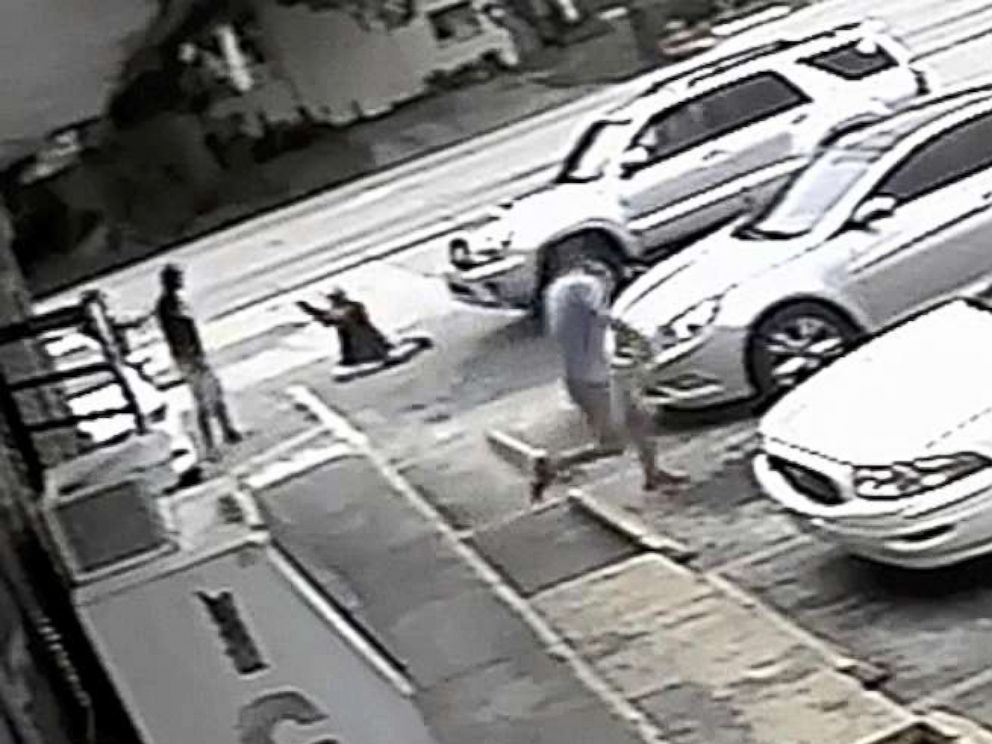 PHOTO: In this Thursday, July 19, 2018 image taken from surveillance video released by the Pinellas County Sheriffs Office, Markeis McGlockton, far left, is shot by Michael Drejka during an altercation in a parking lot in Clearwater, Fla.