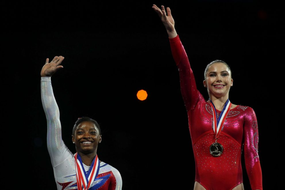 PHOTO: McKayla Maroney, (right), winning the Vault and Floor Exercise during the Senior Women Competition, on the podium with Simone Biles, USA Gymnastics National Championships at the XL, Centre, Hartford, Conn., Aug. 17, 2013.