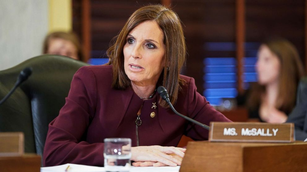 Sen. Martha McSally speaks during a Senate Armed Subcommittee hearing on preventing sexual assault where she spoke about her experience of being sexually assaulted in the military on Capitol Hill in Washington, March 6, 2019.
