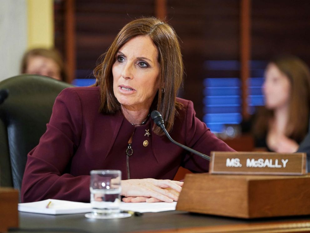 PHOTO: Sen. Martha McSally speaks during a Senate Armed Subcommittee hearing on preventing sexual assault where she spoke about her experience of being sexually assaulted in the military on Capitol Hill in Washington, March 6, 2019.