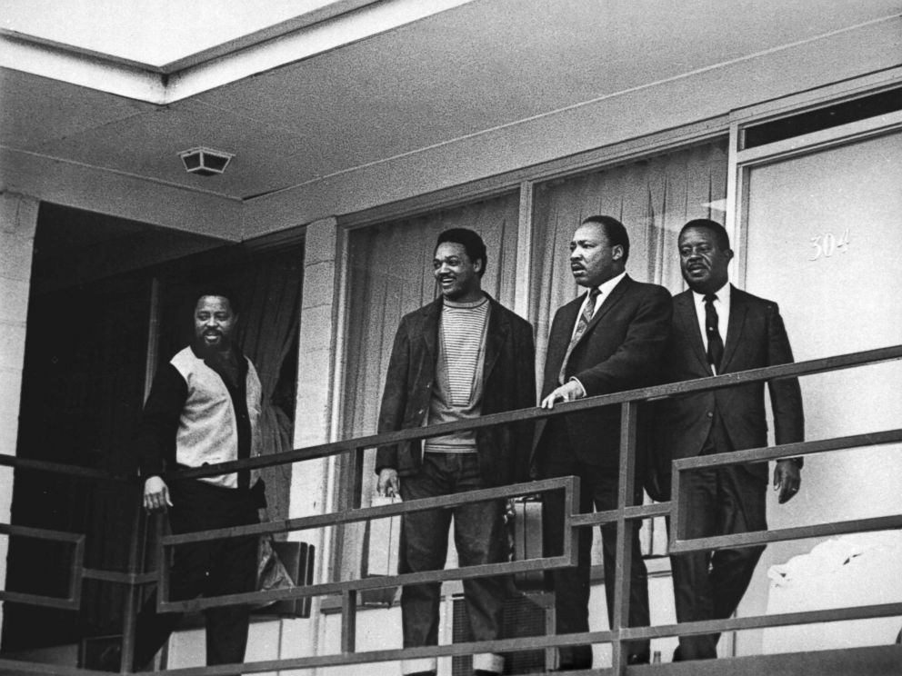 PHOTO: In this April 3, 1968 file photo, the Rev. Martin Luther King Jr. stands with other civil rights leaders on the balcony of the Lorraine Motel in Memphis, Tenn., a day before he was assassinated at approximately the same place.