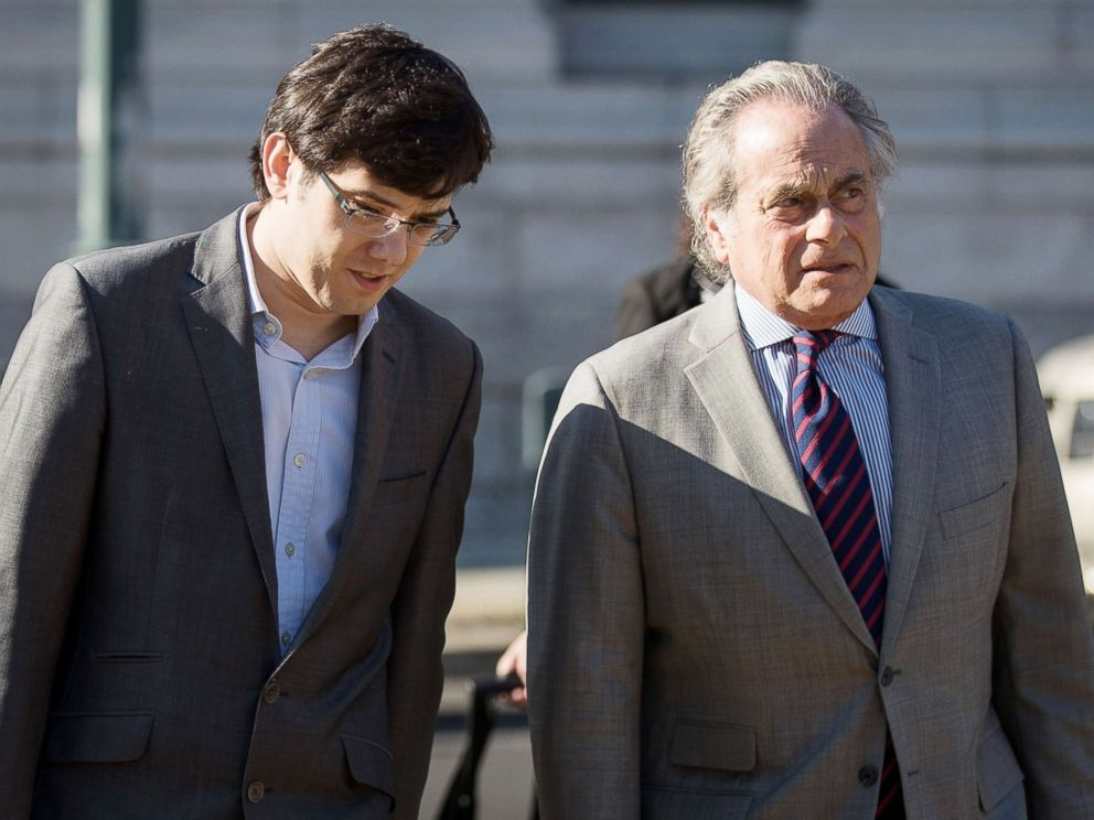 PHOTO: Former pharmaceutical executive Martin Shkreli and attorney Benjamin Brafman arrive at the U.S. District Court for the Eastern District of New York, July 31, 2017.